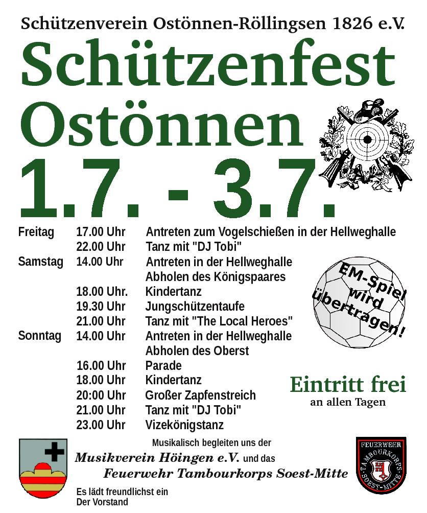 Plakat Schützenfest Ostönnen 2016