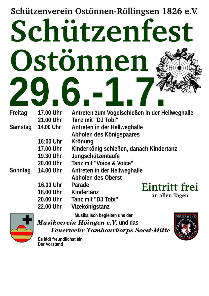 Plakat Schützenfest Ostönnen 2018