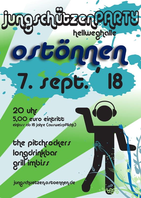 Jungschützenparty am 7. September 2018 ab 20 Uhr in der Hellweghalle Ostönnen mit den Pitchcrockers - Longdrinkbar - Grill Imbiss - Eintritt 5 Euro