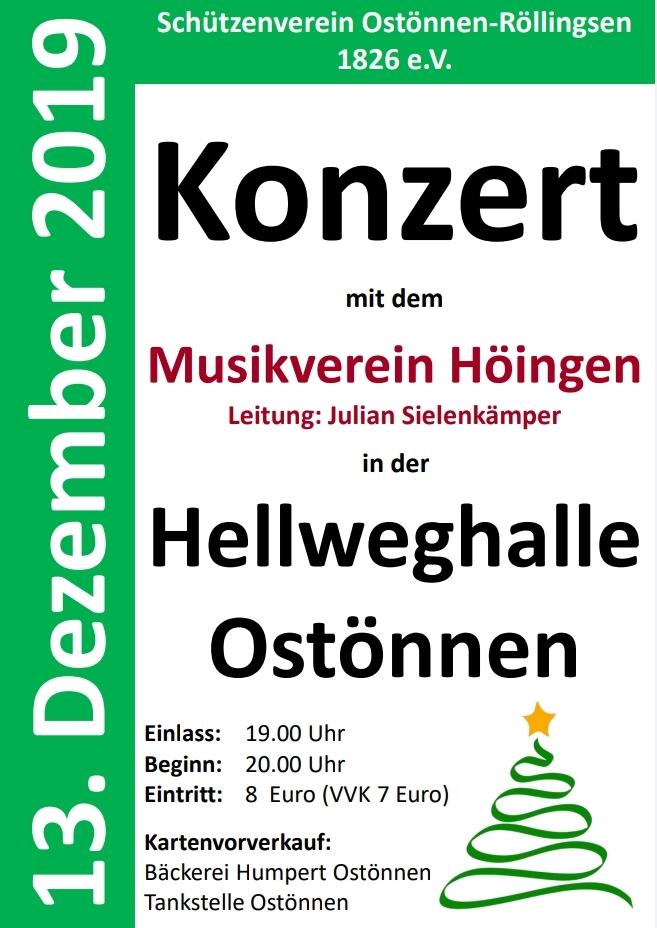 Konzert des Musikverein Höingen am 13. Dezember 2019 in der Hellweghalle Ostönnen präsentiert vom Schützenverein Ostönnen